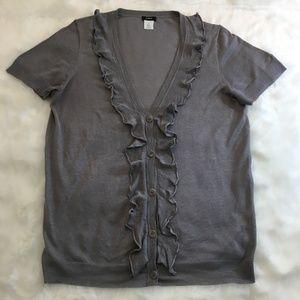 J. Crew Gray Silk Linen Short Sleeve Cardigan